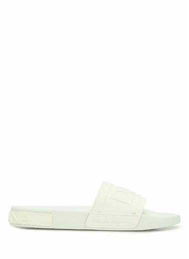 Dolce&Gabbana Dolce&Gabbana 101620259 Yuvarlak Burun Bantlı Logolu Erkek Terlik Beyaz